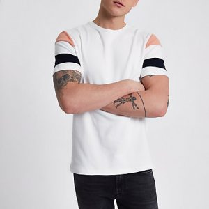 River Island Mens Cream short stripe sleeve slim fit T-shirt