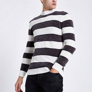River Island Mens Cream stripe slim fit chenille knit sweater