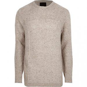 River Island Mens Cream textured knit crew neck sweater