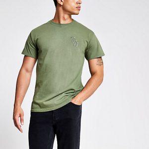 River Island Mens Khaki 'Svnth' embroidered T-shirt