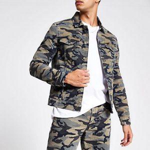 River Island Mens Khaki camo denim jacket