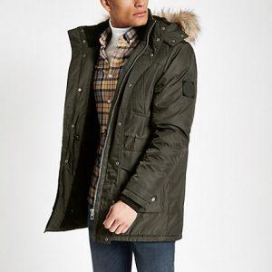 River Island Mens Khaki faux fur hooded parka jacket