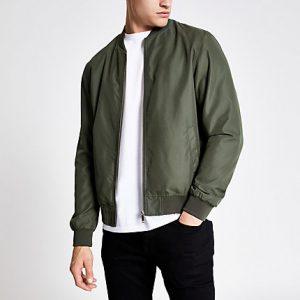 River Island Mens Khaki green bomber jacket