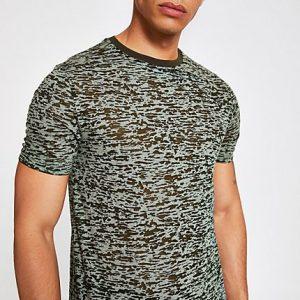 River Island Mens Khaki print slim fit T-shirt