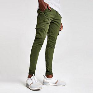 River Island Mens Khaki super skinny cargo pants