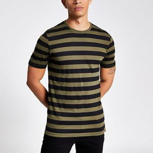 River Island Mens Only and Sons khaki stripe T-shirt