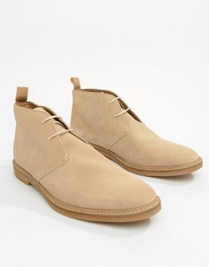 River Island leather chukka boots in stone - Stone