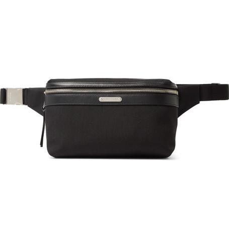SAINT LAURENT - Leather-Trimmed Canvas Belt Bag - Men - Black