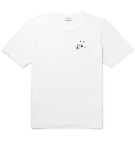a7b52daad91f1c SAINT LAURENT – Printed Cotton-Jersey T-Shirt – Men – White | The ...