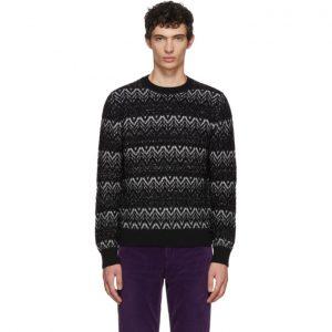 Saint Laurent Black Lurex Zig Zag Sweater