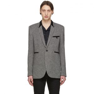 Saint Laurent Black and Off-White Tweed Allure Blazer