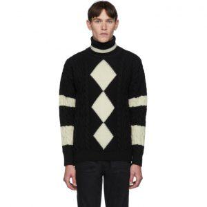 Saint Laurent Black and White Loose Geometrical Turtleneck
