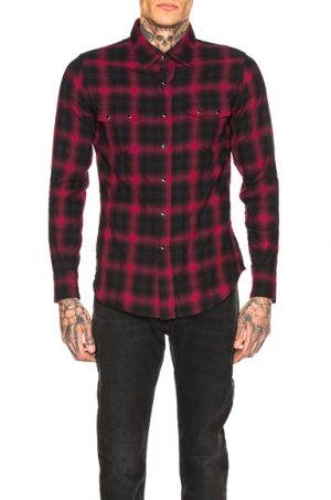 Saint Laurent Classic Texas Shirt in Plaid,Red. - size L (also in S)
