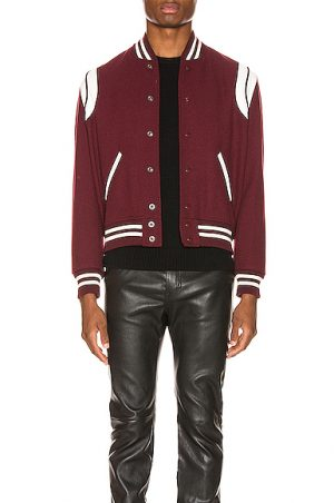 Saint Laurent Teddy Jacket in Red. - size 48 (also in 46,50,52)