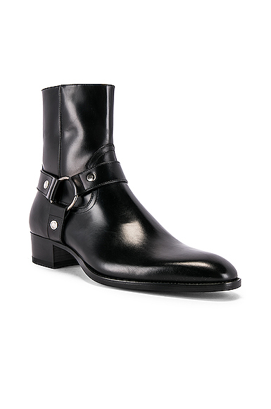 134e4626011 Saint Laurent Wyatt Leather Harness Boots in Black. - size 45 (also in  41,42,43,44,46,40)