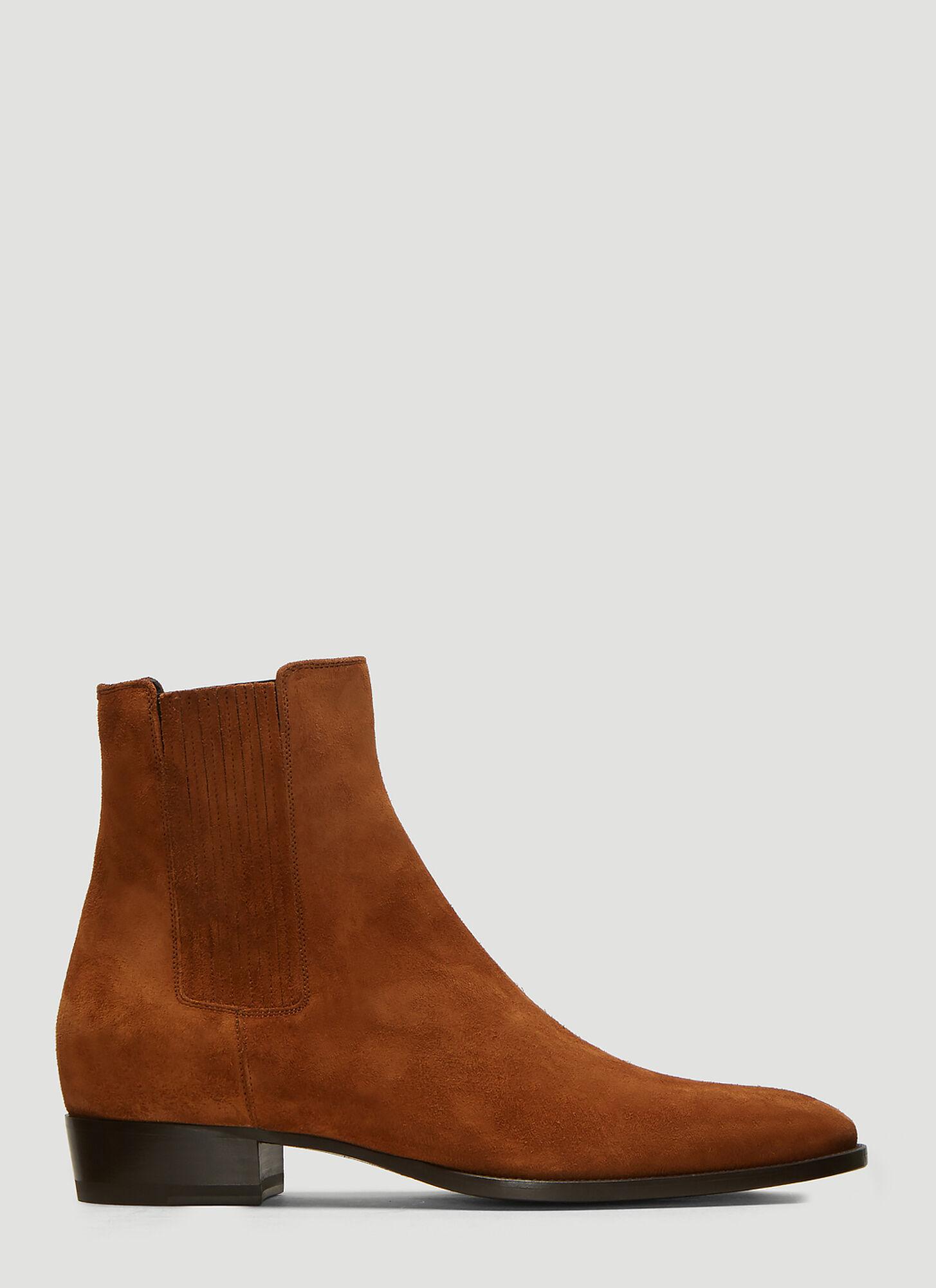 c10f6b20b1 saint laurent beige suede wyatt chelsea boots