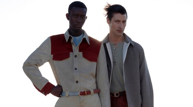 Models Oumar Diouf and Jonas Mason don pre-spring 2020 looks from Salvatore Ferragamo.