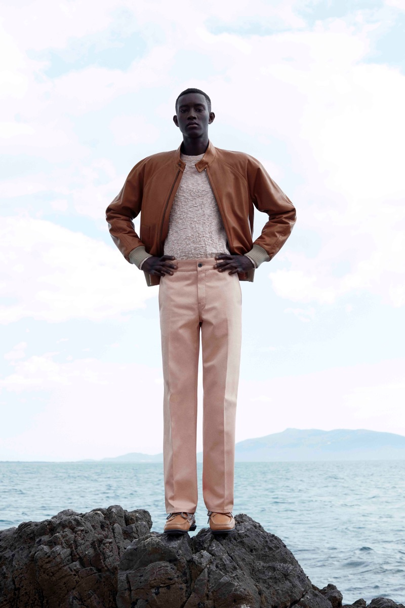 Luca Khouri photographs Oumar Diouf in a sleek look from Salvatore Ferragamo's pre-spring 2020 collection.