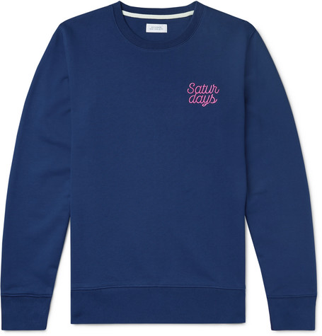Saturdays NYC - Bowery Logo-Embroidered Loopback Cotton-Jersey Sweatshirt - Men - Cobalt blue