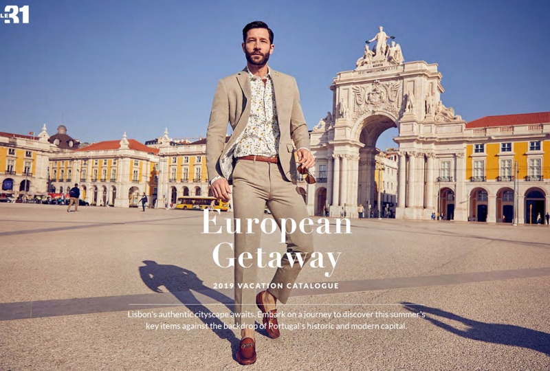 John Halls dons a Bosco linen suit with Simons loafers and a LE 31 leather belt.
