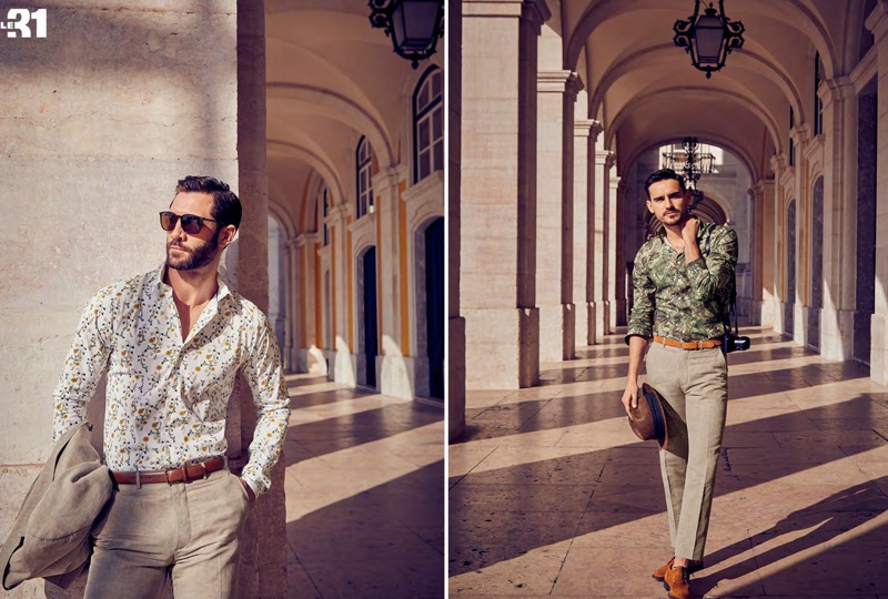 Left: John Halls sports a Bosco linen suit and a LE 31 leather belt. Right: Arthur Kulkov wears Bosco linen pants with a LE 31 tropical forest print shirt and leather dress belt with Simons suede derby shoes.