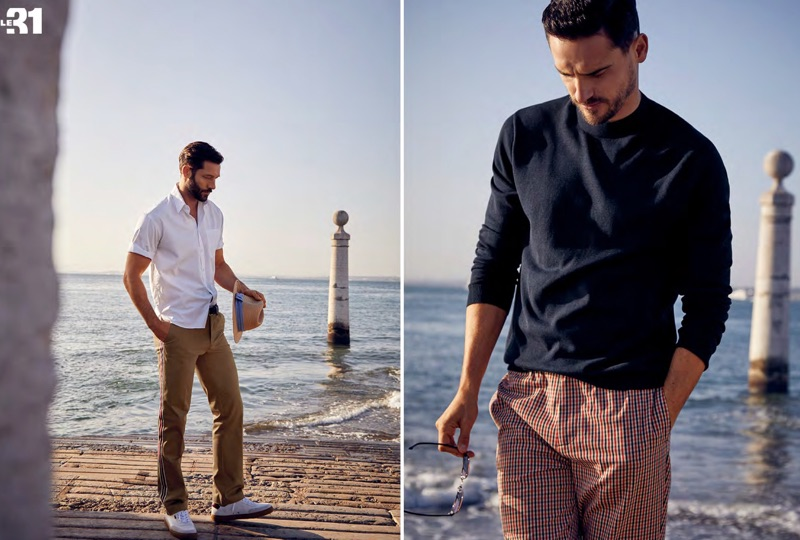 Left: John Halls models a LE 31 loose shirt, officer stripe chinos, and a chambray ribbon Panama hat with white Paul Smith sneakers. Right: Arthur Kulkov rocks a LE 31 knit sweater with slim-fit check pants.