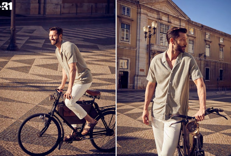 Taking in the sights of Lisbon, Portugal, John Halls wears a LE 21 knit linen shirt and Stockholm pants with Birkenstock Arizona EVA sandals.