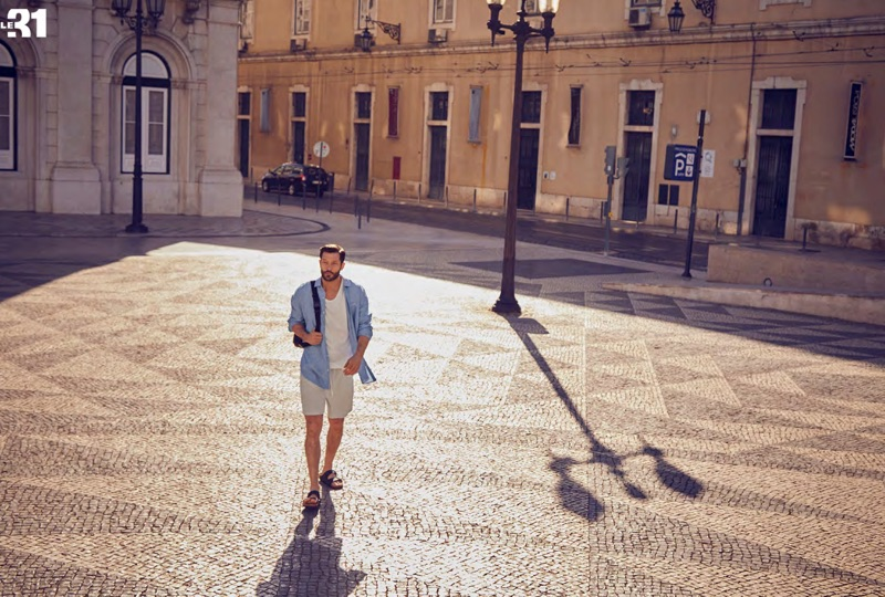 Stepping out, John Halls models a LE 31 linen shirt and terry shorts with Birkenstock Arizona EVA sandals.
