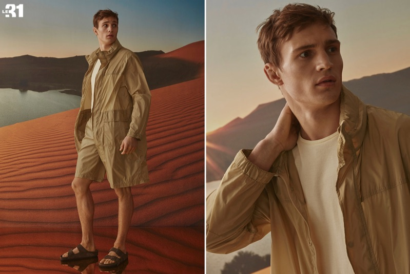Julian Schneyder wears a LE 31 nylon parka and Bermudas with a piqué cotton tank. He also sports Rick Owens x Arizona sandals.