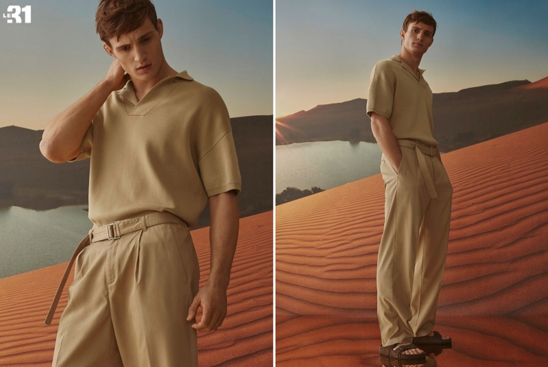 A chic vision, Julian Schneyder wears fashions from Simons' in-house brand LE 31.