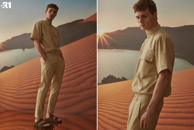 Reuniting with Simons, Julian Schneyder rocks a LE 31 utility shirt and pull-on pants with Birkenstock Arizona sandals.