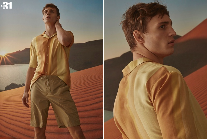 Donning neutrals, Julian Schneyder wears a LE 31 ombré-stripe camp shirt, nylon Bermudas, and a neo-utility jacket.
