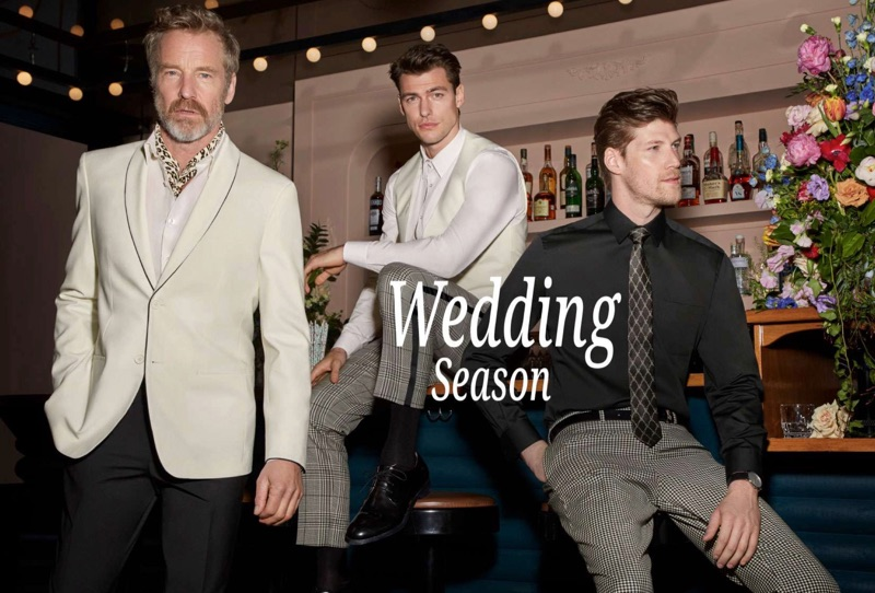 Models Rainer Andreesen, Filip Wolfe, and Alex Loomans sport wedding style for Simons. The trio dons smart tailoring from LE 31.