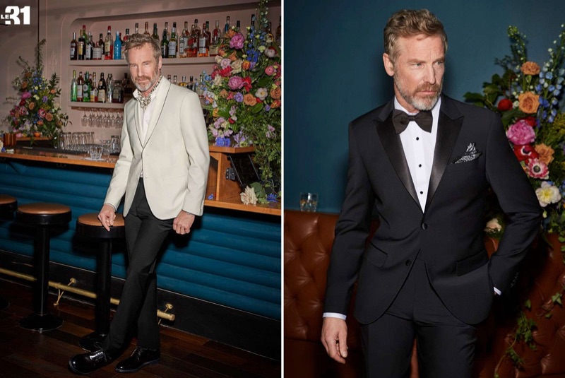 Left: Rainer Andreesen dons a LE 31 piped cream jacket, shirt, leopard print scarf, and tuxedo pants with Simons leather brogues. Right: Rainer models a LE 31 tuxedo with a Blick retro satin bow-tie.