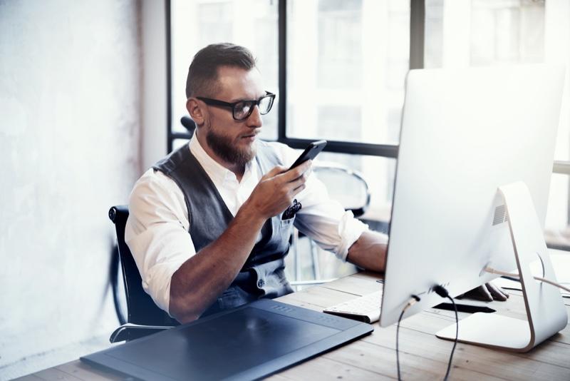 Stylish Man Office Smartphone Computer