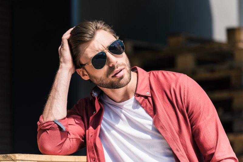 Stylish Man Wearing Aviator Sunglasses
