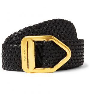 TOM FORD - 3cm Woven Leather Belt - Men - Black