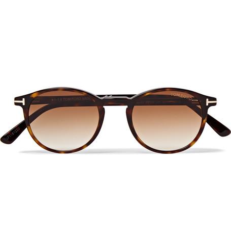 TOM FORD - Andrea-02 Round-Frame Tortoiseshell Acetate Sunglasses - Men - Tortoiseshell