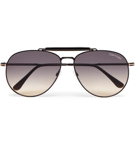 TOM FORD - Aviator-Style Leather-Trimmed Gunmetal-Tone Sunglasses - Men - Gunmetal