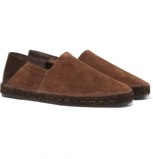 TOM FORD - Barnes Collapsible-Heel Suede and Leather Espadrilles - Men - Dark brown