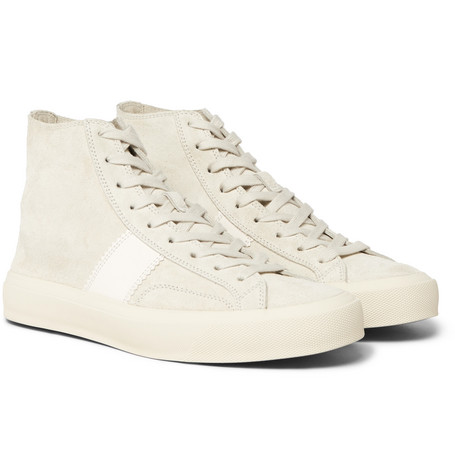 TOM FORD - Cambridge Leather-Trimmed Suede High-Top Sneakers - Men - Off-white