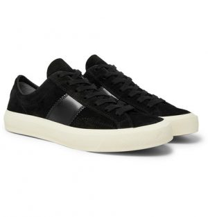 TOM FORD - Cambridge Leather-Trimmed Suede Sneakers - Men - Black