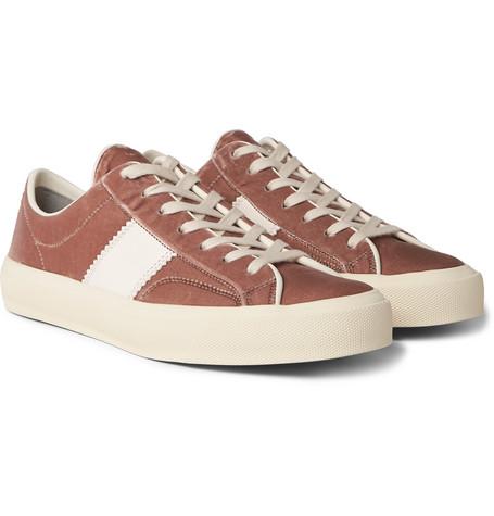 TOM FORD - Cambridge Leather-Trimmed Velvet Sneakers - Men - Pink