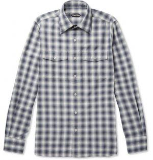 TOM FORD - Checked Cotton Shirt - Men - Blue