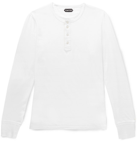 TOM FORD - Cotton-Jersey Henley T-Shirt - Men - White