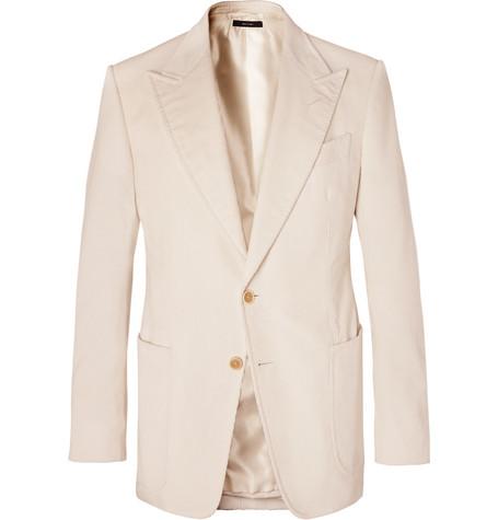 TOM FORD - Cream Shelton Slim-Fit Cotton and Linen-Blend Corduroy Blazer - Men - Cream