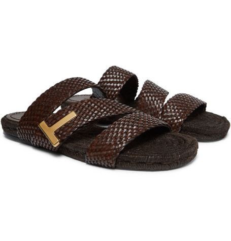 TOM FORD - Grafton Woven Leather Slides - Men - Brown