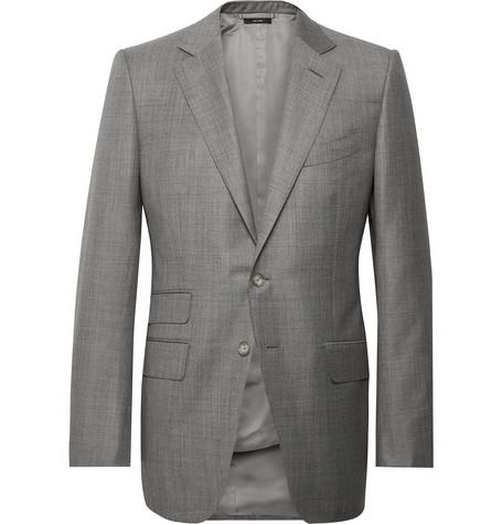 TOM FORD - Grey O'Connor Slim-Fit Super 110s Wool-Sharkskin Suit Jacket - Men - Gray