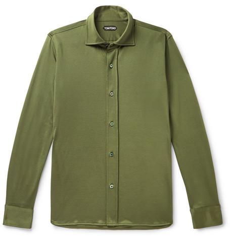 TOM FORD - Jersey Shirt - Men - Army green