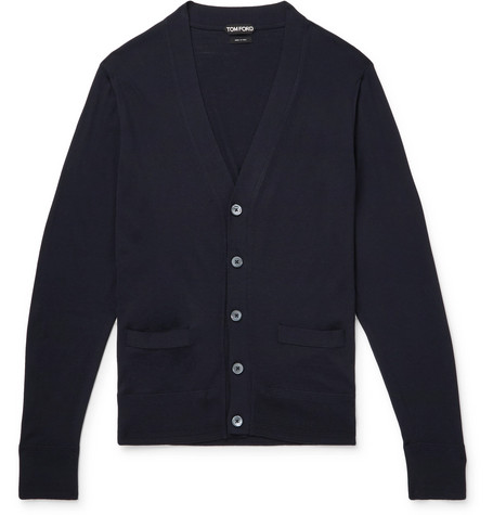 TOM FORD - Merino Wool Cardigan - Men - Midnight blue